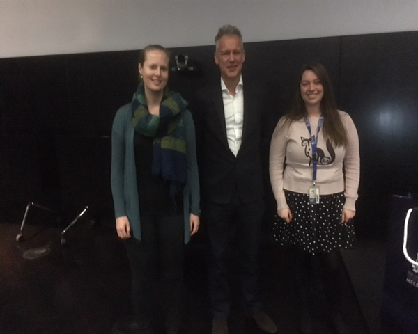 Best Datablitz and Poster Awards winners Susie Bellows and Emma Morrisroe with Professor Michael Johnson from Imperial College, London