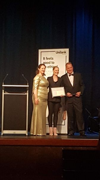 GSA President Emily Roberts, PhD student Fiona Lynch, and representative from sponsor UniBank, Mike Lanzing, at the Annual Graduate Ball and Awards Night