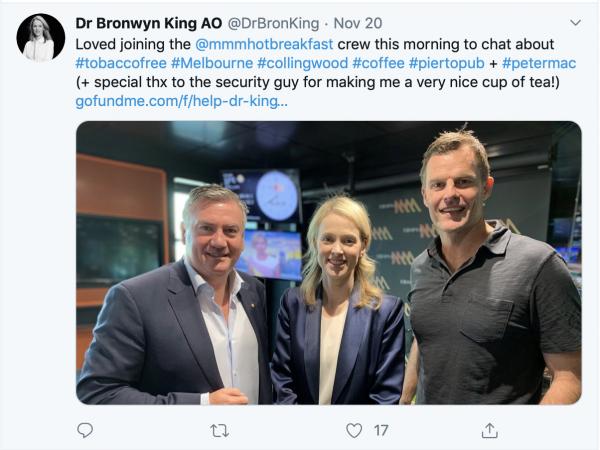 Bronwyn King with MMM Breakfast team