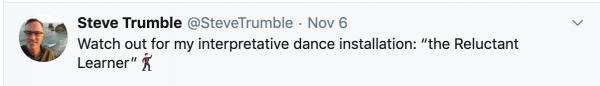 Tweet from Professor Steve Trumble