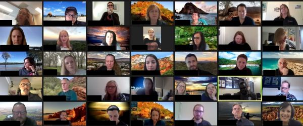 The virtual Jawun team Connection Point meeting with staff using backgrounds from where their placement is